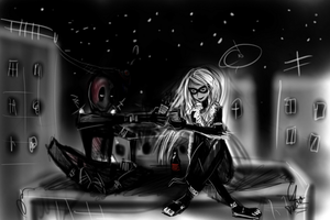 Deadpool and Black Cat doodle by dzetaWMDunion