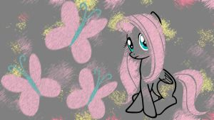 Fluttershy Chalk Wallpaper by Zandaros
