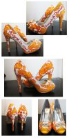 Shoes: Yellow and Red Paisley by setsuna22