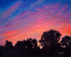 Sunset out of my front window by johnwickart