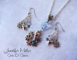 Snowflake Frozen Inspired Necklace and Earrings by ArteDiAmore