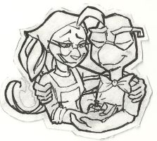 Bentley and Penelope lineart WIP by ObligatorilyOptional
