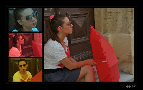 Red Umbrella 3 -collage- by TagyK1