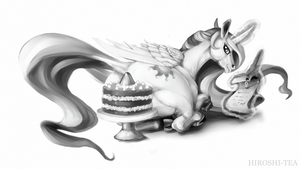 Princess Celestia Horse with Cake by Hiroshi-Tea