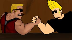 Duke Nukem vs Johnny Bravo by Bleu-Ninja