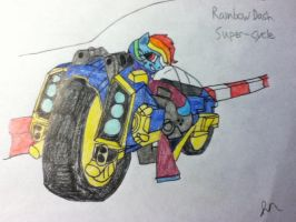 Rainbow Dash Super Cycle Drawing by EnteringTheNethery
