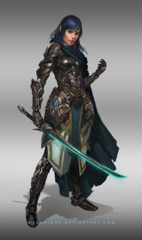 female cyborg : character design by macarious