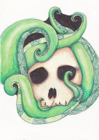skull and sea creature by ninjalove134
