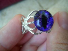 Ring - Dragon Eye Violet Purple Silver - Glows!3 by LadyPirotessa