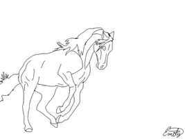 horse lineart three by FeatherfurWolf