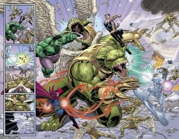 Hulk double-page spread by DNA-1
