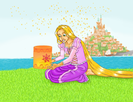 Rapunzel with a lantern by Xijalle