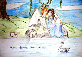 Eros and Psyche - by the lake side by unusualdraws