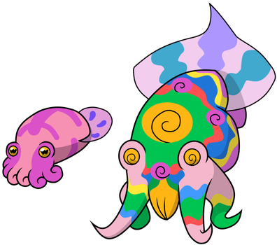 151 Poison Fakemon 11:Psychedelic Cuttlefish by BatterymanAAA