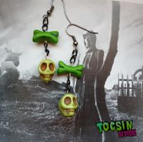 SKULL AND BONE ZOMBIE EARRINGS by TocsinDesigns