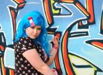 Graffiti and Blue wig by memersonphotographic