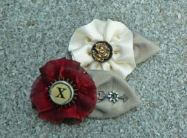 Ribbon Flower Fascinator Pins by magpie-poet
