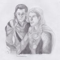 Loki And Thor Sketch by JacetheGriffin