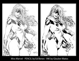 Miss Marvel by Ed Benes - Ink by GlauberMatos