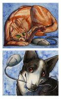 Dog and cat mousepads by Hukkanaama