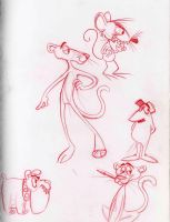 Pink Panther sketches by cozmictwinkie