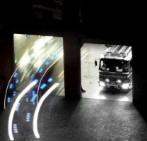 Fire engines at night . by velar1
