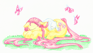 Sleeping Fluttershy by Mu-Tsu