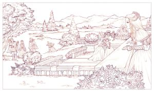 Tudors garden scene sketch by CourtneyTrowbridge