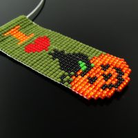 Bead loomed I love Halloween pendant by CatsWire