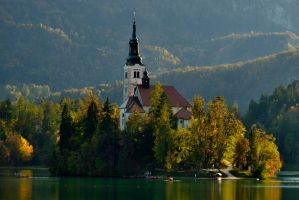 Autumn on Lake Bled by jabroyles