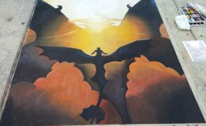 How To Train Your Dragon 2 Valka/Hiccup Chalk Art by sugarpoultry