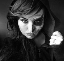 grim reaper makeup-turning by L-A-Addams-Art