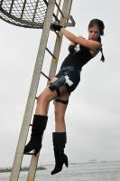 Stacey - Lara on ladder 1 by wildplaces