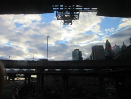 City from under a highway loleelol by Gummibears618