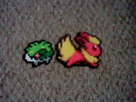 flareon and shaymin perler bead creations by anime--boy