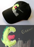 embroidery cap dino grr by una-dani