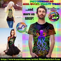 Psychedelic All Over Print Tees by BluedarkArt by Bluedarkat