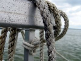 Boat Ropes and Railing by masonmouse