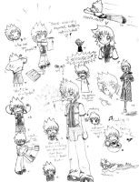 17 Roxas Sketches on One Page by SanchaySquirrel