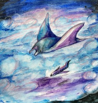 In the Clouds (is a Manta Ray) by Kylie-Price