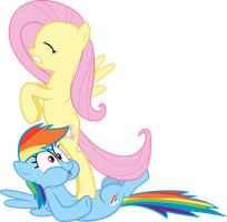 Fluttershy Assaulting Rainbow Dash by iamcommando13