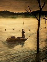 Fisherman at Sunrise by jfkpaint
