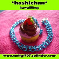 strawberry cupcake necklace by emily1707