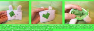 Cute Green-n-White Bunny Pouch by BlueDove415
