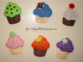 Felt Cupcake Magnets by okiegurl1981