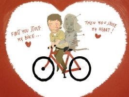 the walking dead heart/bike by chumkiu