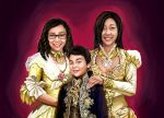 Family Portrait Digital Painting by Houa-Vang