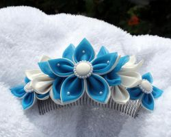 Blue sky kanzashi by Shiroimiko
