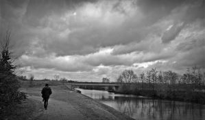 overcast sky above the Scarpe river by April-Mo