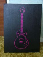 Guitar Stenciled canvas by Amza
